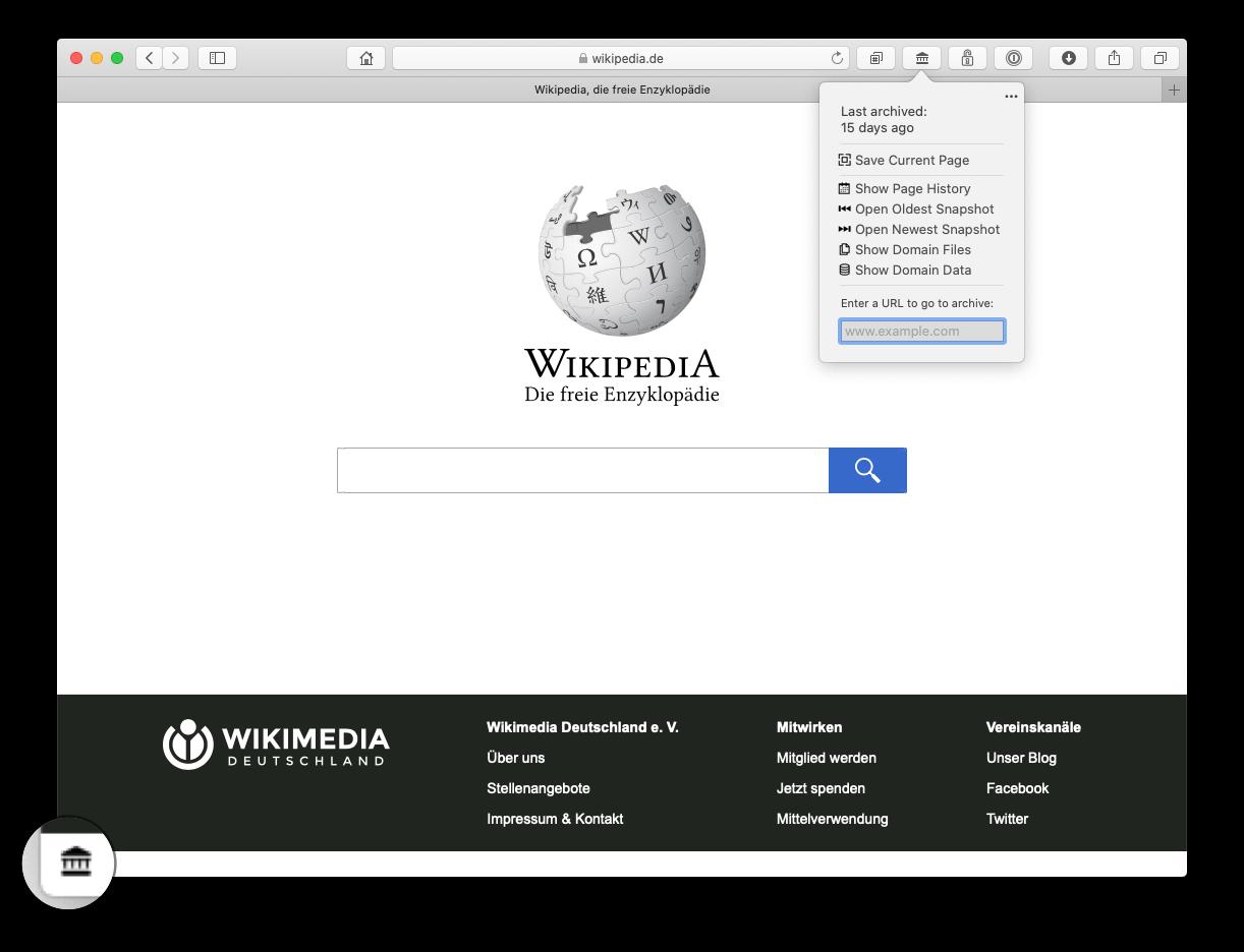 Wayback - easy internet archive access Safari App Extension